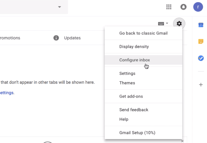 Configure Inbox to Enable and Disable Category in Gmail