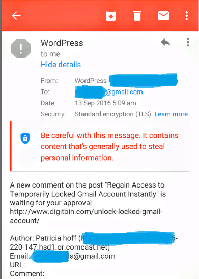 Message Steal Personal Information