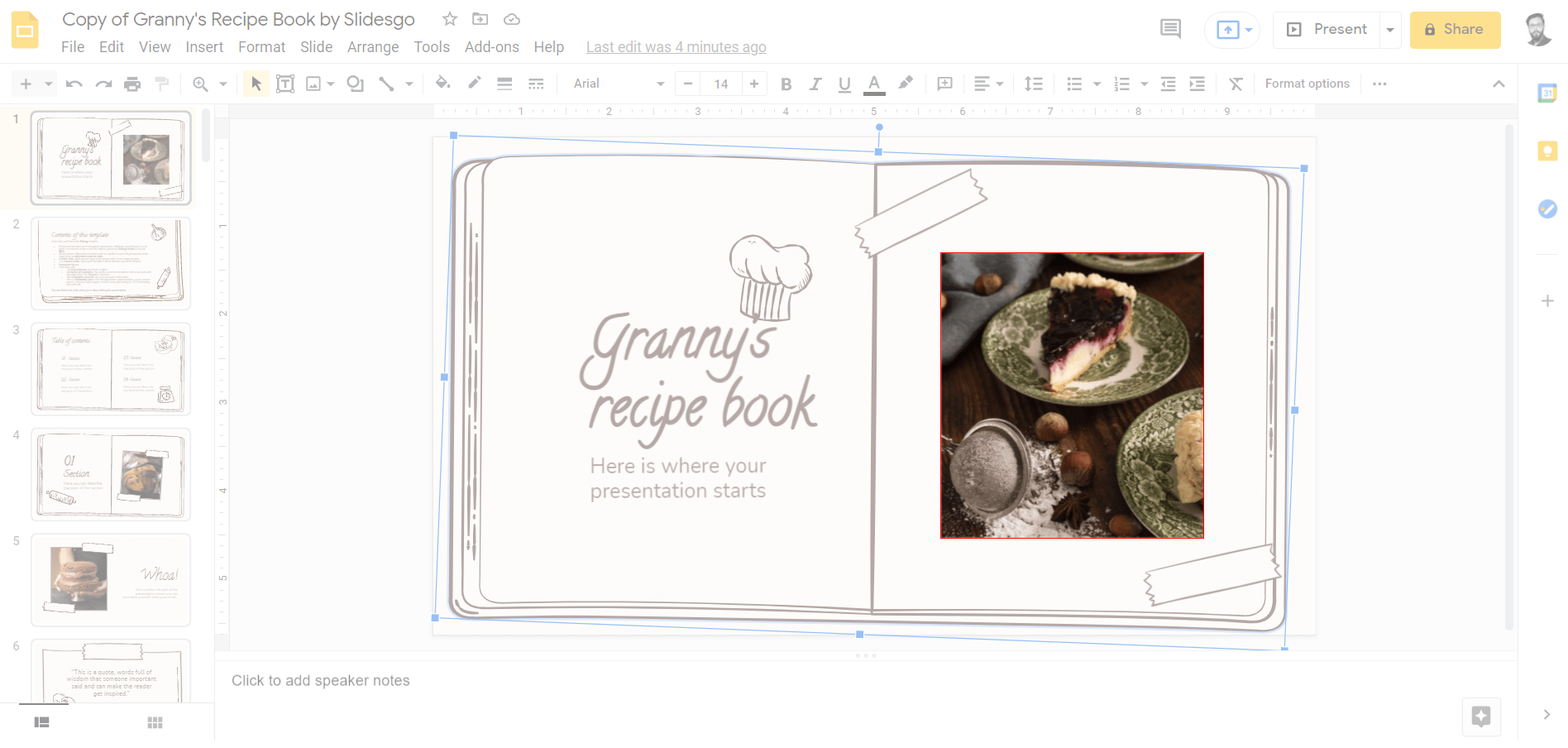 Create a rectangle around the image on the slide