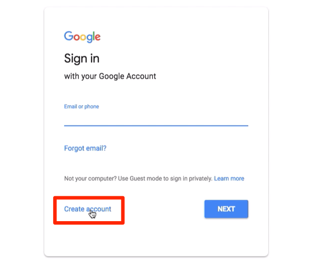 Create account on Google Sign in page