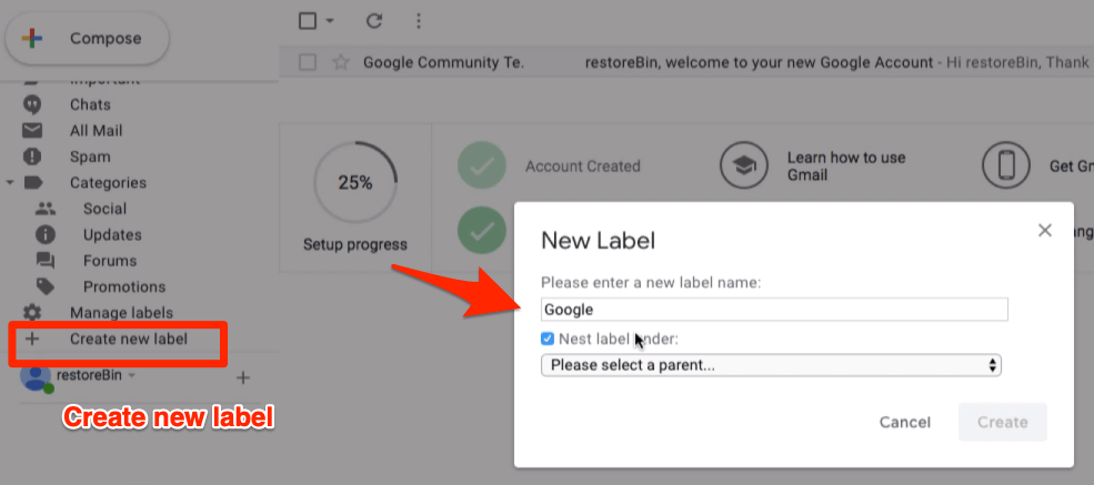 Create new label window in Gmail