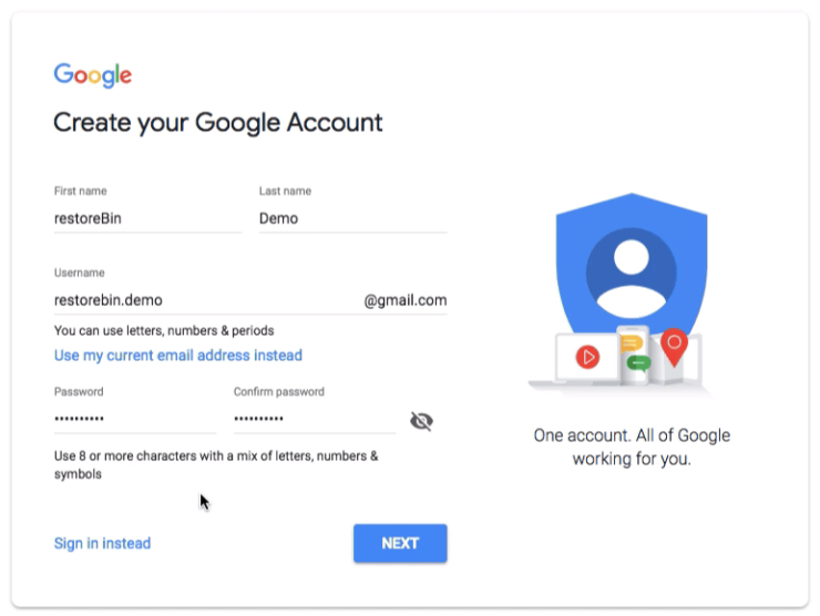 Create your Google Account Form - Name, username, password