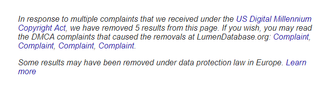 DMCA Lumen Notice