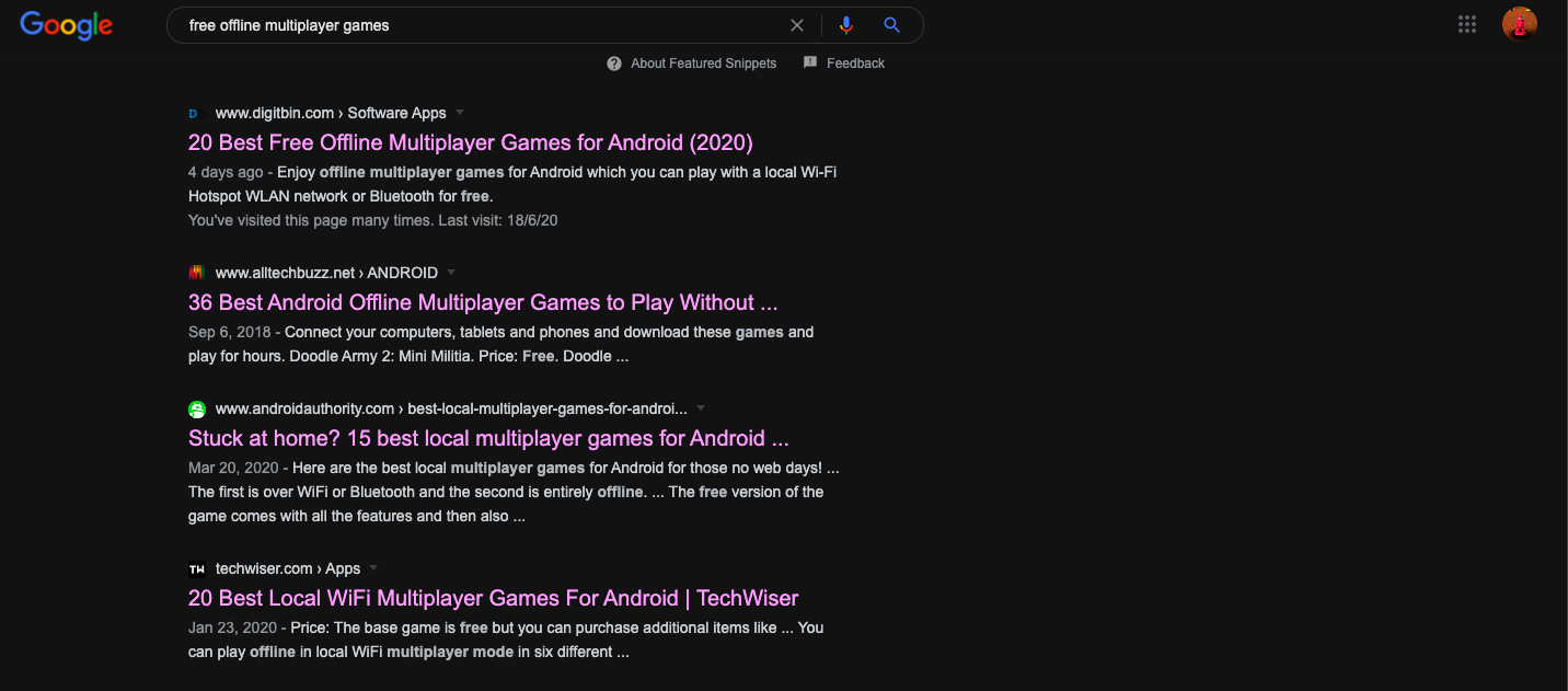 Dark Mode in Search results