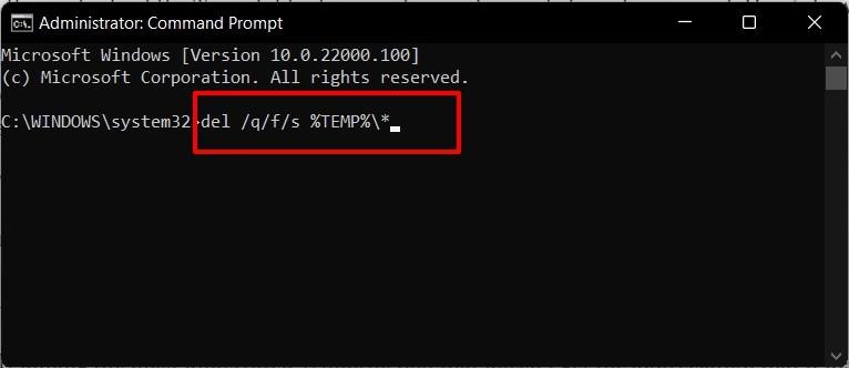 Delete Temporary Files in Windows 11 via Command Prompt