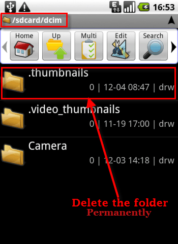Delete thumbnails in android