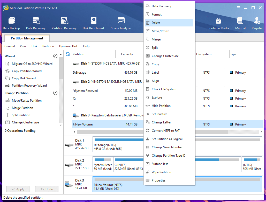 """Delete"" to remove all partitions"
