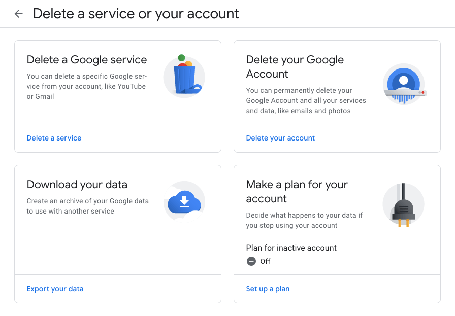 Delete Google Account or Service and Download data