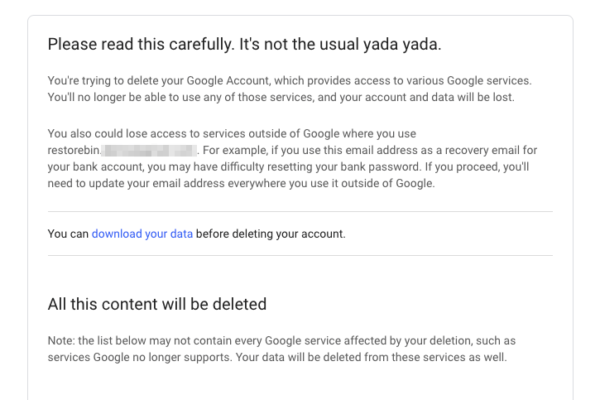 Delete your Google Account Page Confirmation