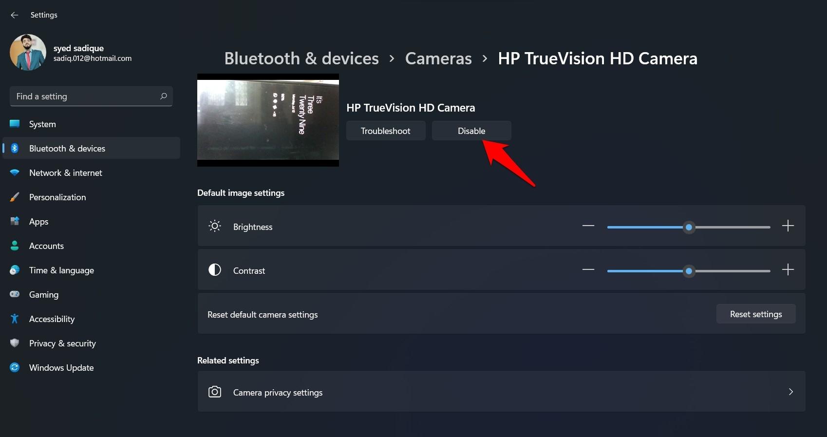 Disable Camera Windows 11