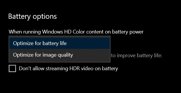 Don't allow streaming HDR video on battery