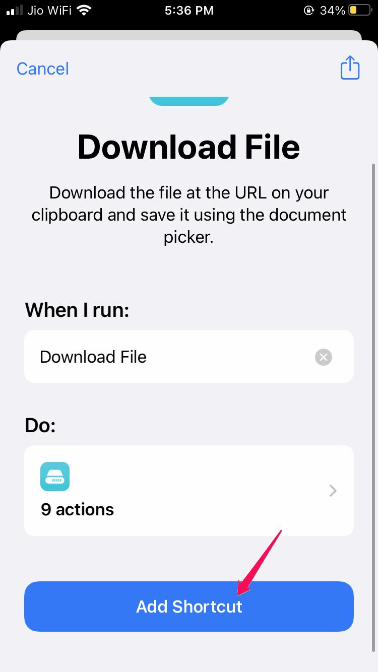 Download Via Siri Shortcut