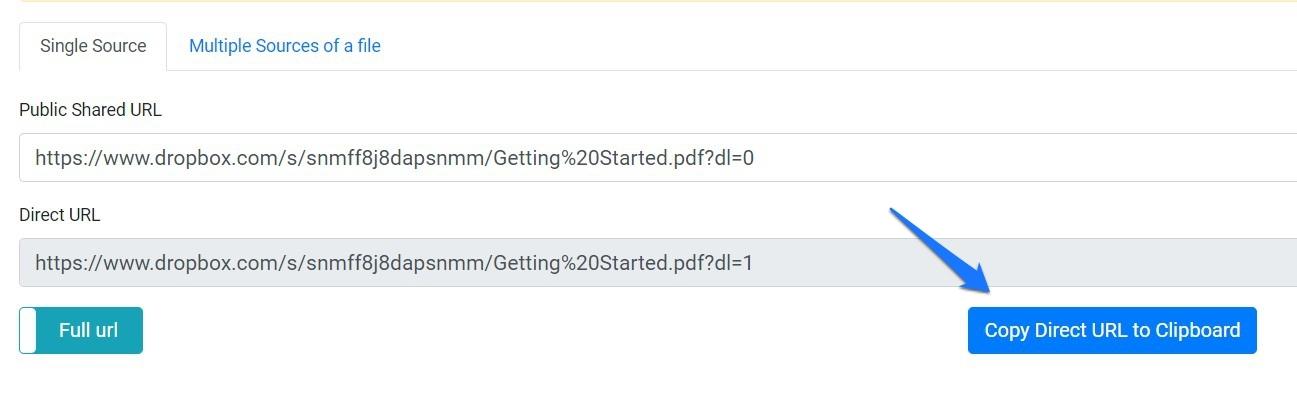DropBox Direct Download Lik