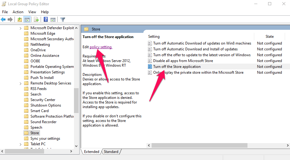 Edit policy setting label