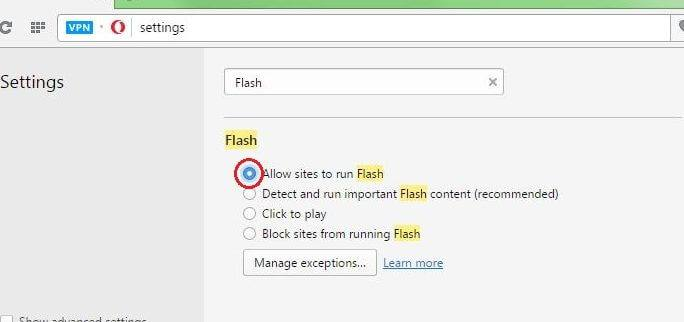 Enable Flash in Opera Browser