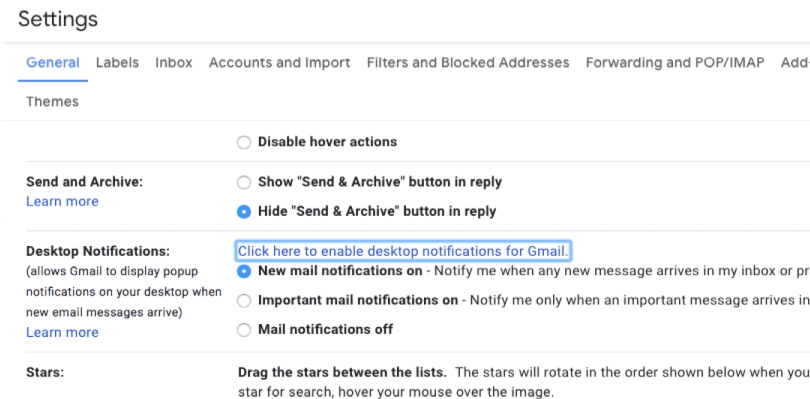 Enable desktop Notification for Gmail