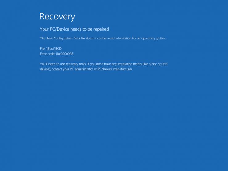 Error 0xc0000098 in Windows 10