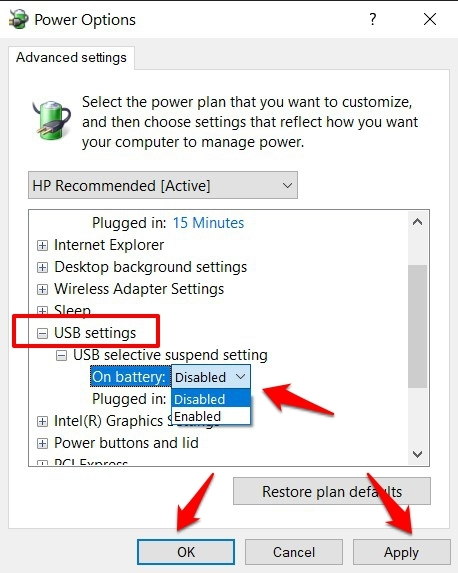 Expand the USB Drivers section and double click on USB selective suspend settings