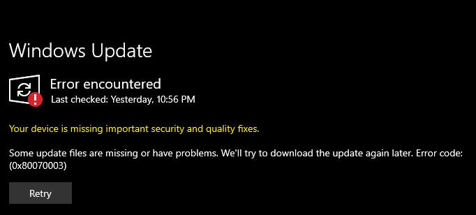 Failed Windows Update