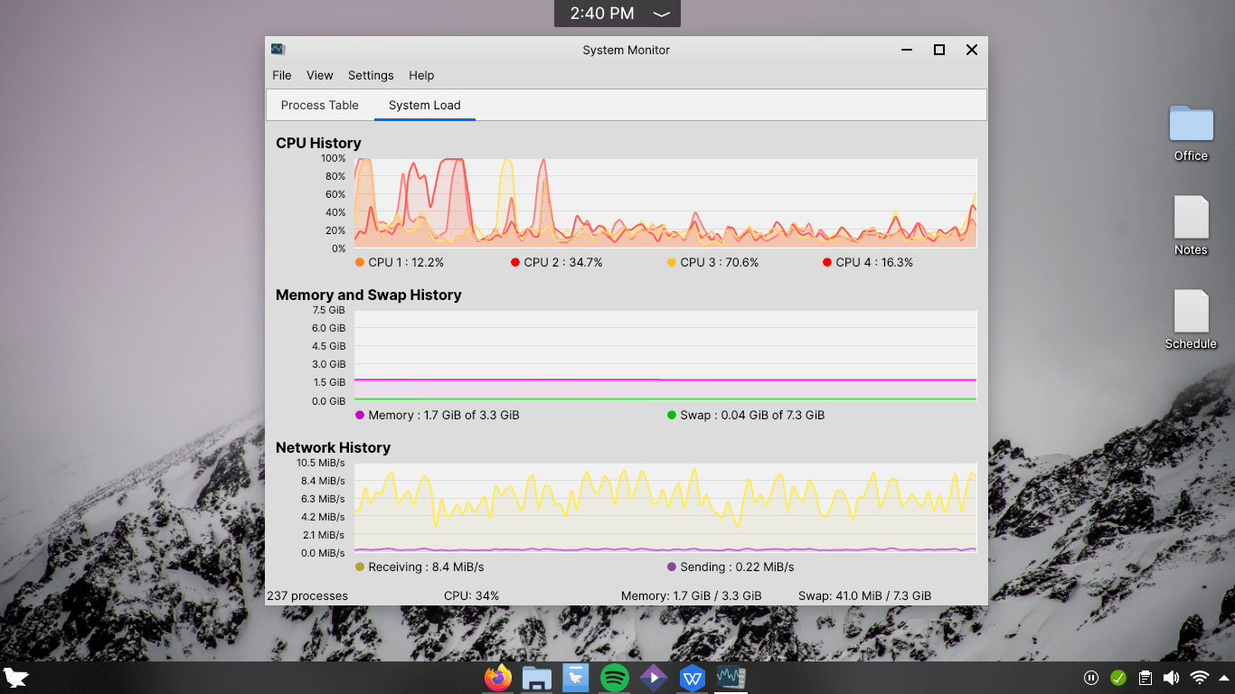 Feren OS System Monitor Stats