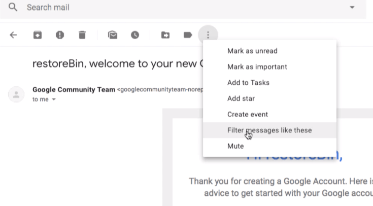 Filter message like these option in Gmail