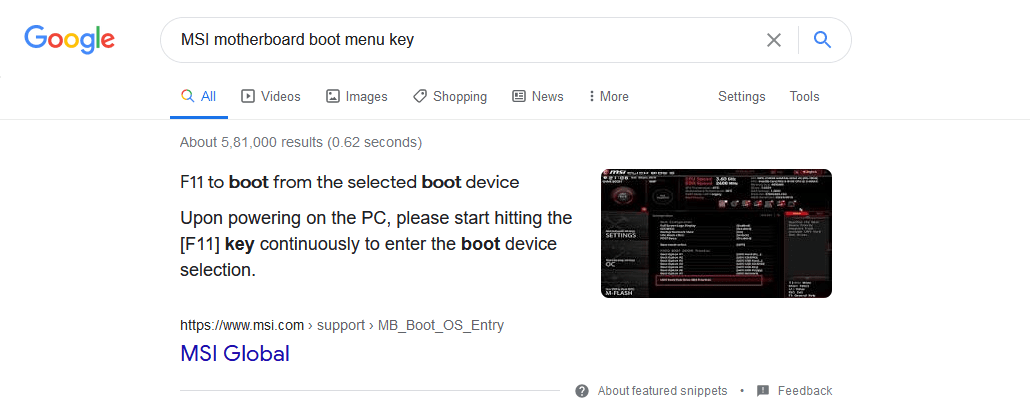 Find Boot Menu Key