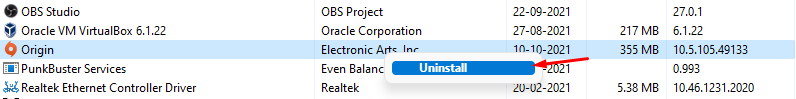 """Find Origin and right-mouse click to view the """"Uninstall"""" option and click on it"""
