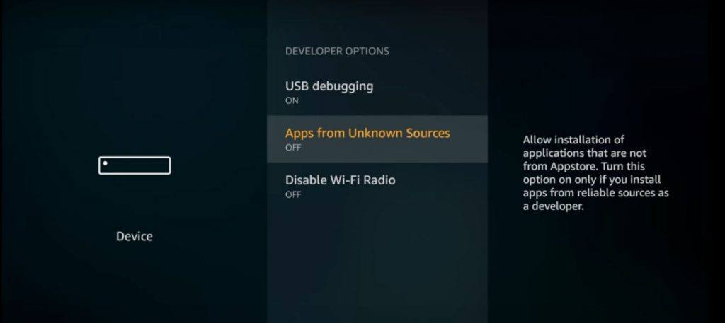 Fire TV Unkown Sources from Developers Option