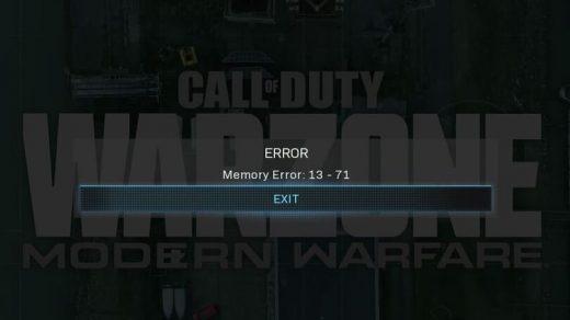 Fix COD Warzone Memory Error 13-71
