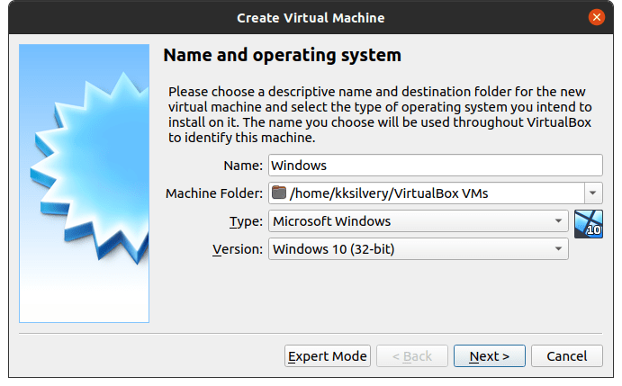 """Give the new installation name, choose """"Microsoft Windows"""" and select Windows 10 (64-bit) or Windows 10 (32-bit) and then click on """"Next"""" to continue"""