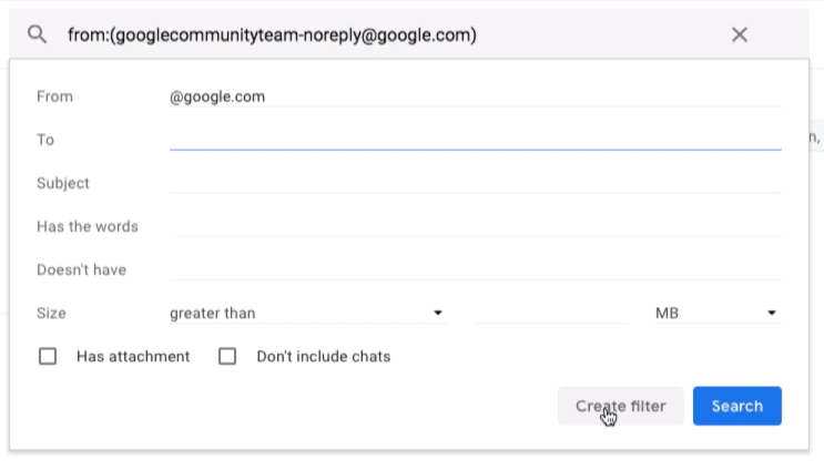 Gmail Filter Options in Search Bar