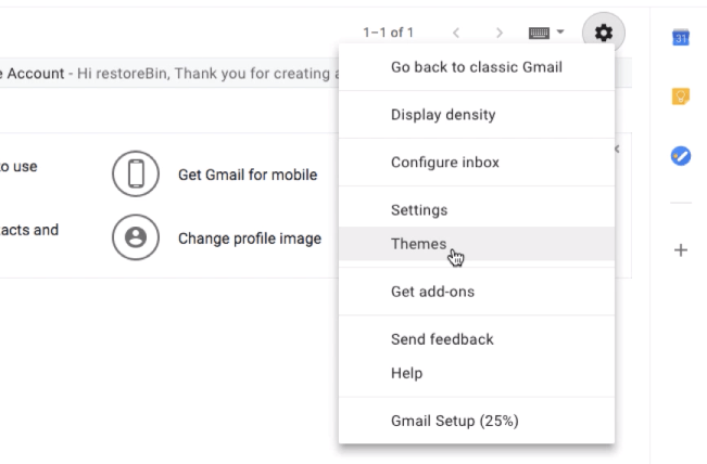 Gmail Themes option