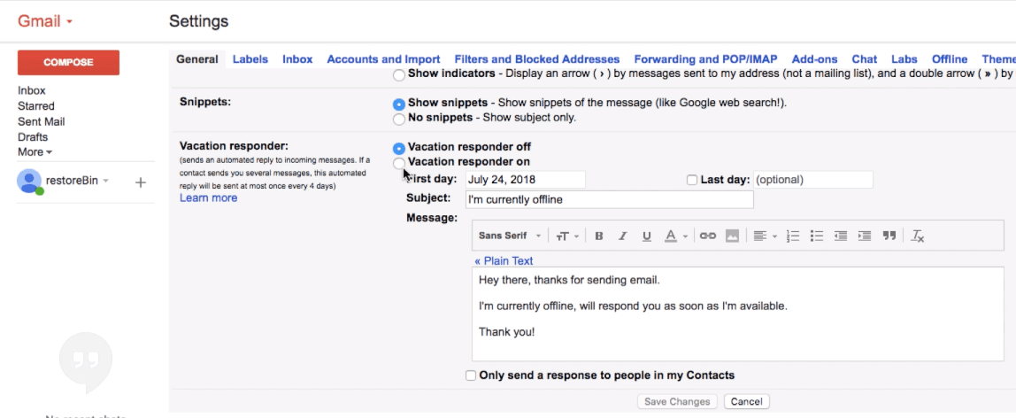Gmail vacation responder for Out of Office