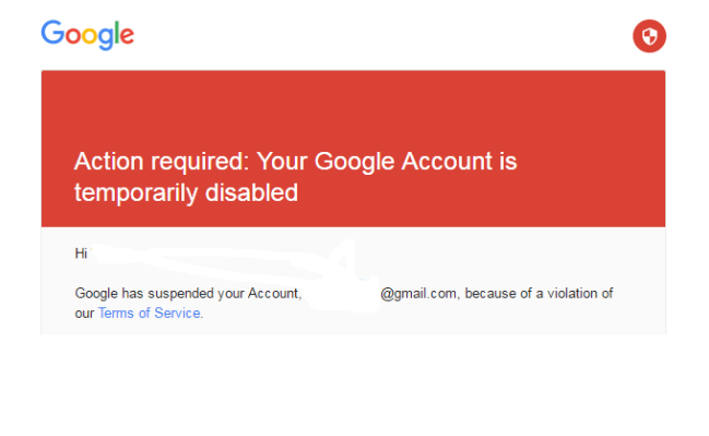 Google Account Disabled Temporary