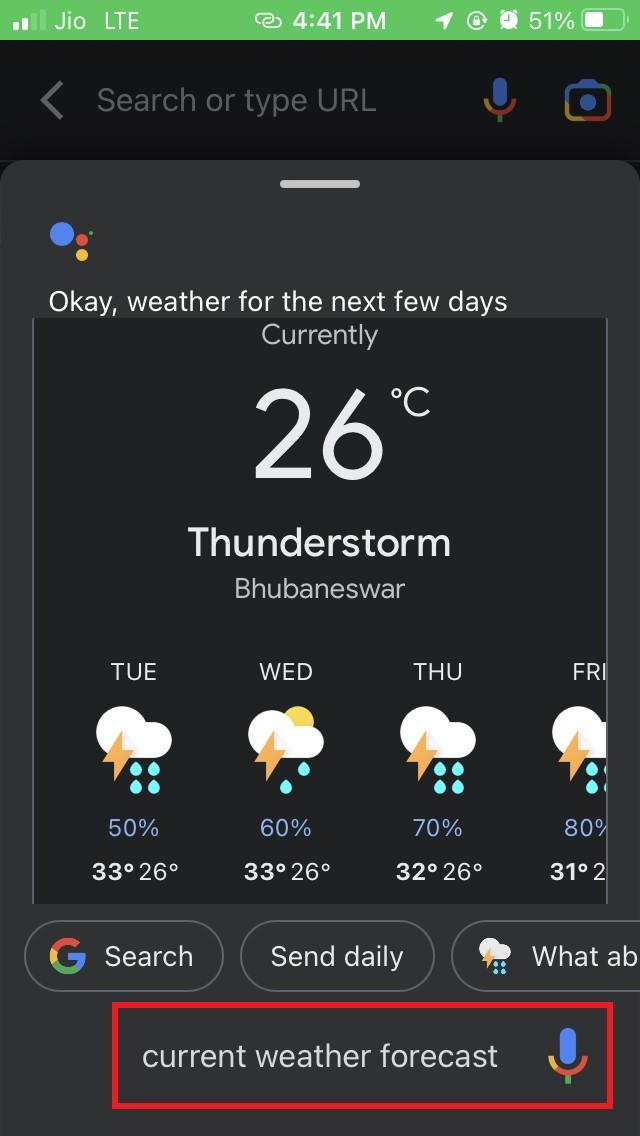 Google App weather forecast