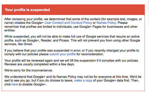 Google Plus profile suspended due to voilation of user content and conduct policy