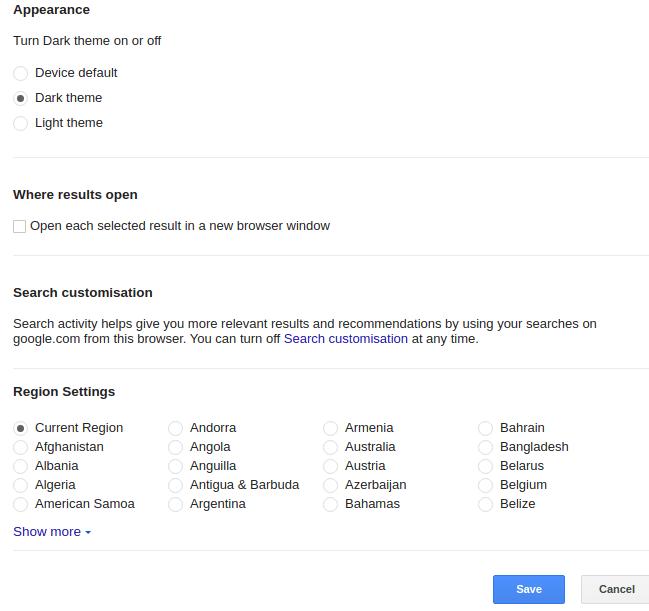 Google Search Engine Dark Theme Setting