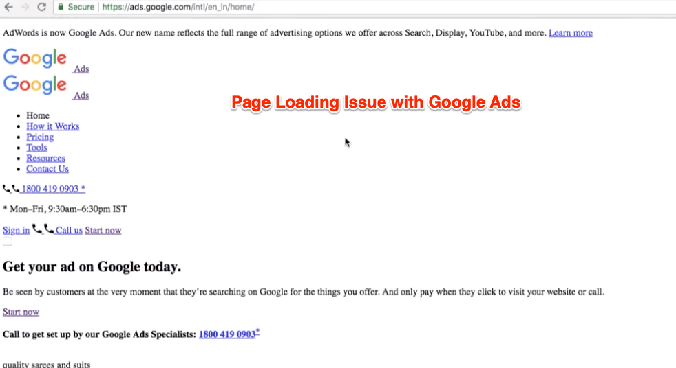 Google Ads Home Page Not Loading Properly