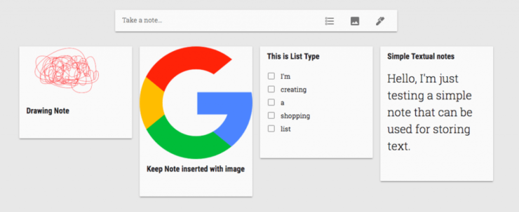 Google Keep Notes Type