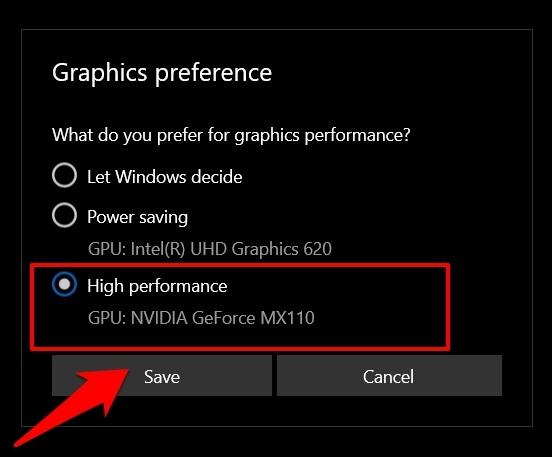 Graphics preference