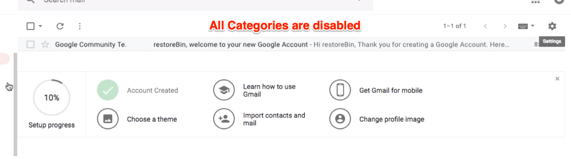 Hide Category Tabs in Gmail Mailbox