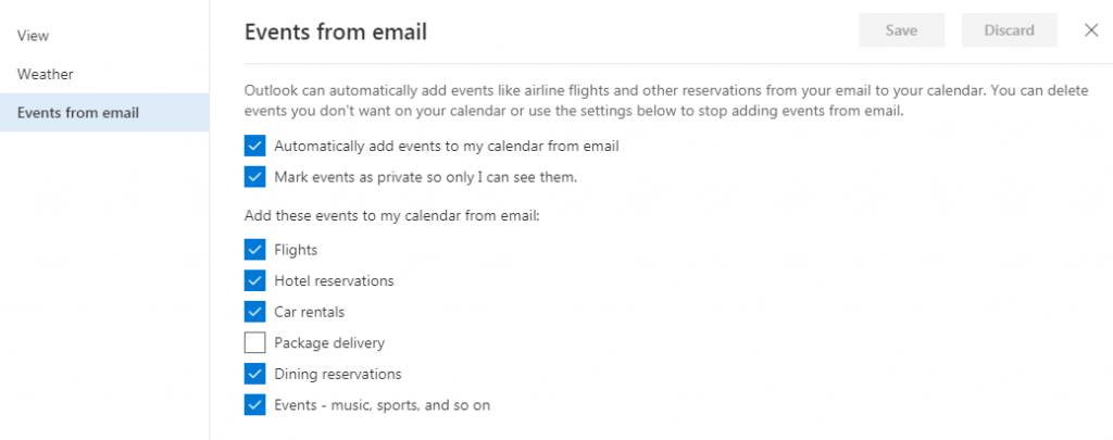 Hotmail Calendar Settings option