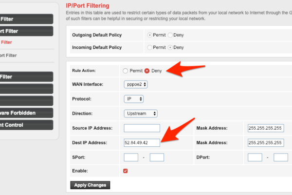 IP or Port Filter Setting in WiFi Router to block sites