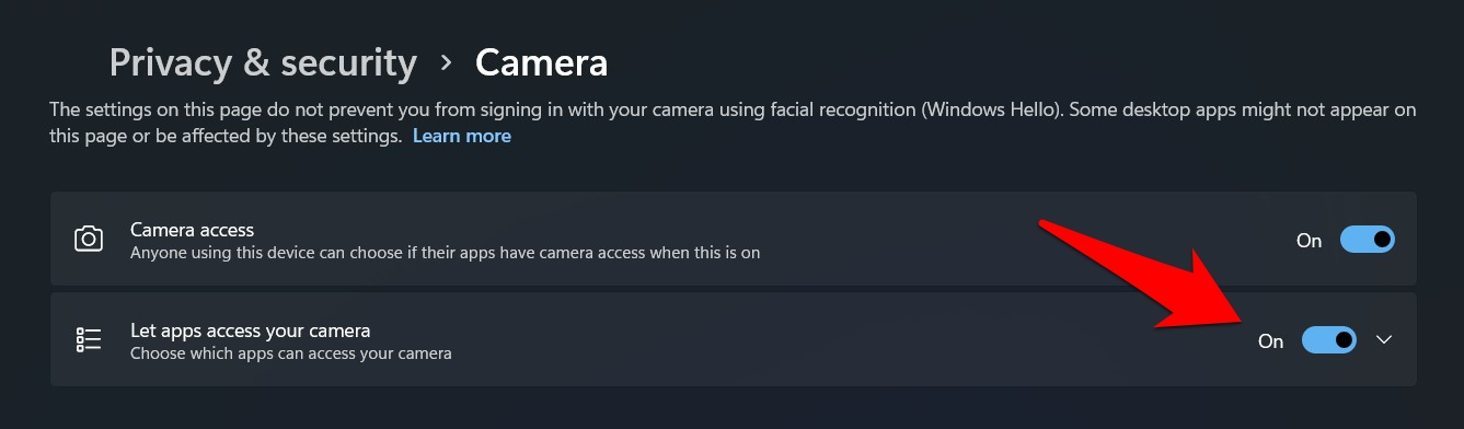 Let Apps Access your Camera