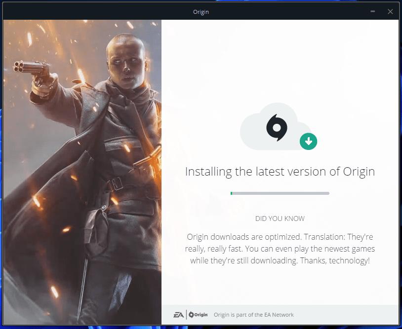 Let the Windows program to start installing