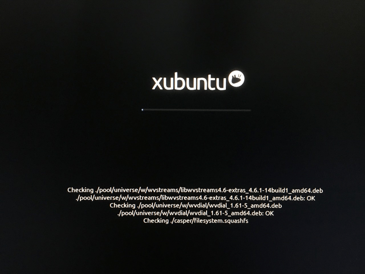 Let the Xubuntu ore Linux distribution load, and it will check the removable drive for errors & stability