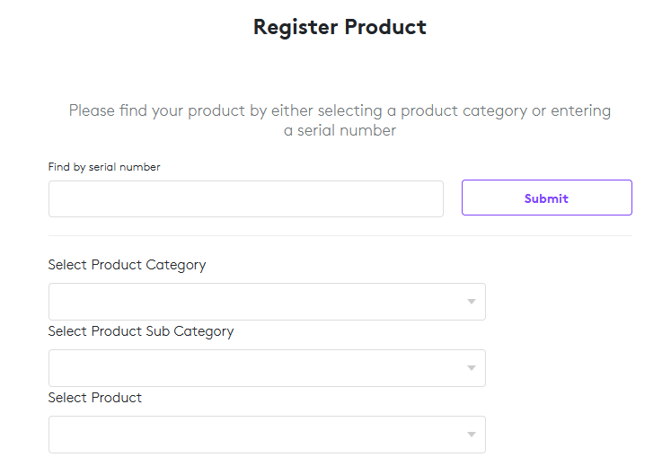 Let's register the product using the serial number