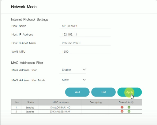 MAC Address Filter Settings