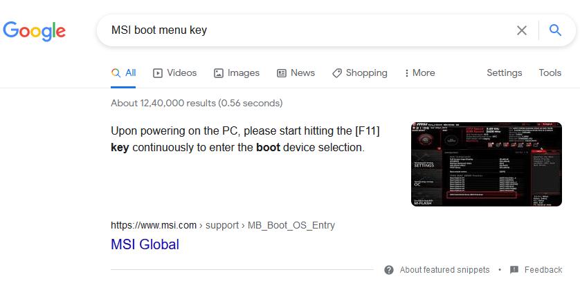 MSI motherboard boot menu key