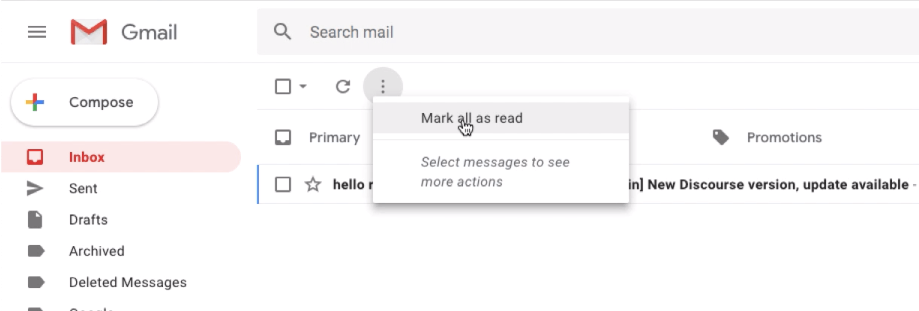 Mark all as read in Gmail Inbox